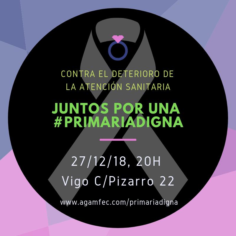 día 27 a las 20H, se celebra en Vigo la MANIFESTACIÓN EN DEFENSA DE LA ATENCIÓN PRIMARIA.