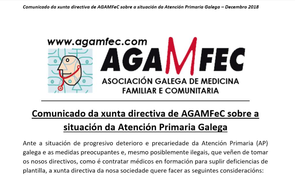 Comunicado de la junta directiva de AGAMFeC sobre la situación de la Atención Primaria Gallega