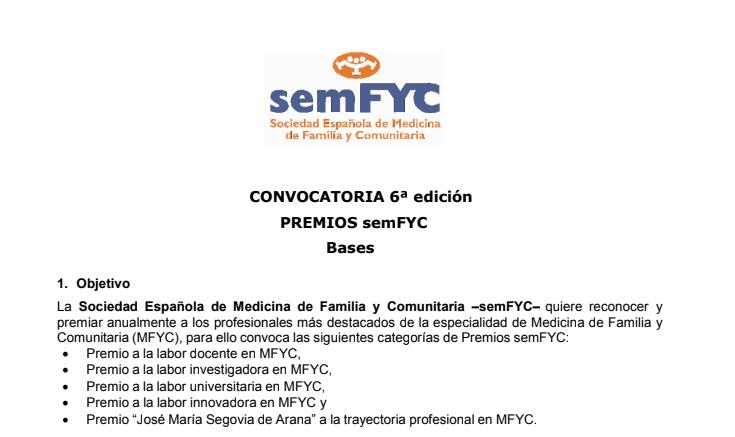 6º Edición Premios semFYC 2019