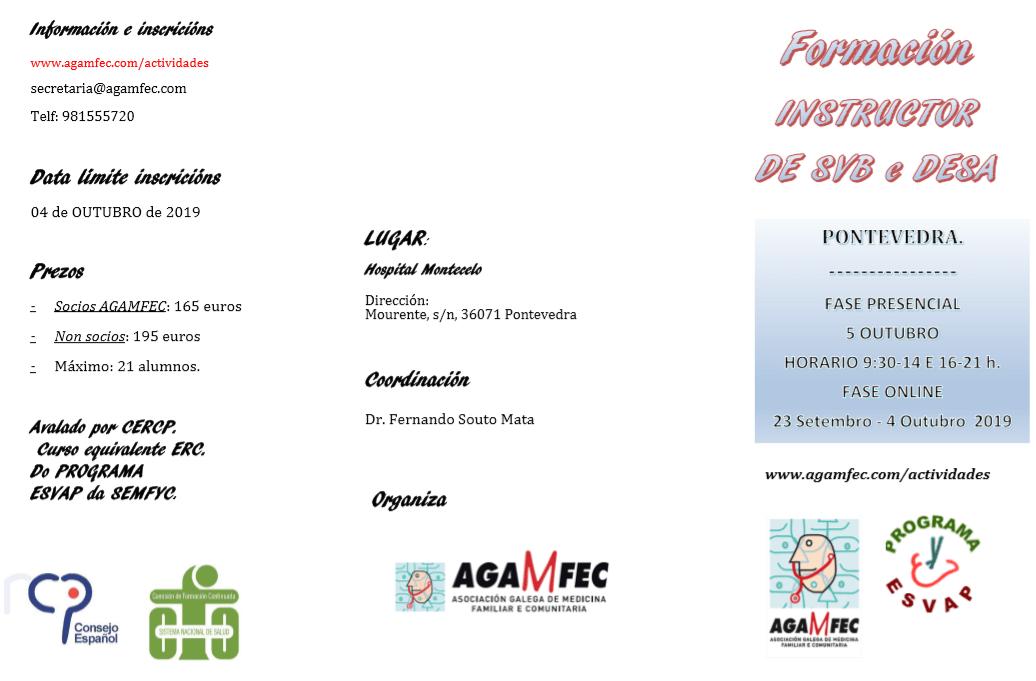 Curso Formación INSTRUCTOR DE SVB e DESA. Pontevedra, OCTUBRE 2019.