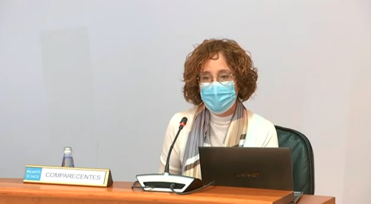 Susana Aldecoa, presidenta de Agamfec, na comisión non permanente covid19 do parlamento de Galicia